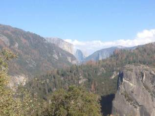 Down the valley with Half Dome in the middle.